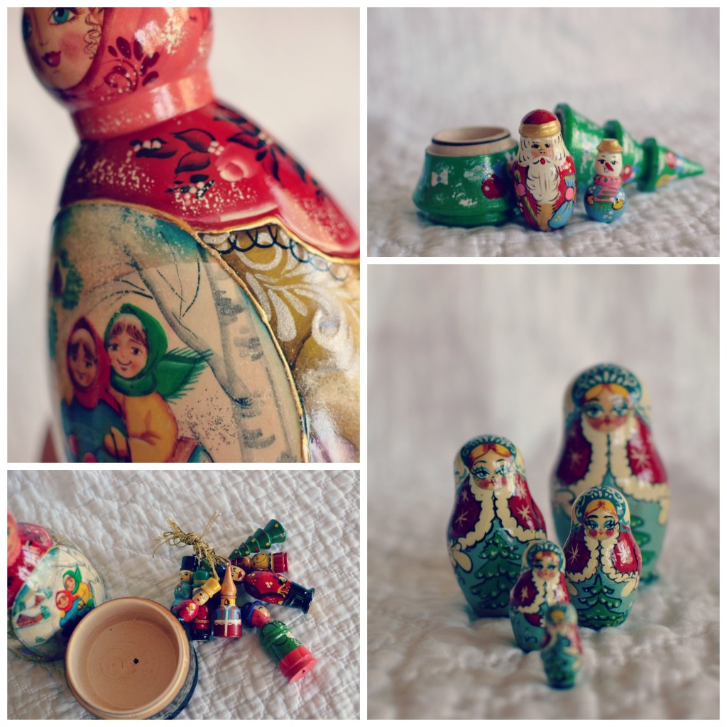 The Peddler holding ornaments. And other Christmas dolls